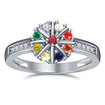 14K White Gold Fn 925 Silver Multi-Color Gemstone Women's Navratna Ring - $51.63