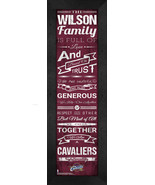 """Personalized Cleveland Cavaliers """"Family Cheer"""" 24 x 8 Framed Print - $39.95"""