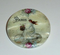 French Lady Girl Riding Bike Bicycle Paris  Mother of Pearl Shank Button... - $11.39