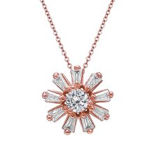 Sterling Silver Rose Gold Baguette Flower Pendant with Link Chain   Necklace - $198.00