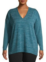 Terra & Sky Women's Plus V Neck Thermal Top Size 1X (16-18W)  Green New - $15.83