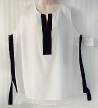 Ellen Tracy Women's Plus Blouse Top size 24/3X Black White Tunic Hi-Lo ... - $32.67