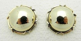 Vintage Gold Tone Round Clip Earrings - $7.13