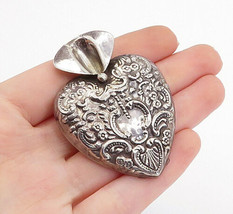 925 Sterling Silver - Vintage Floral Pattern Hollow Heart Brooch Pin - B... - $51.52