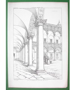 ARCHITECTURE PRINT : ITALY Courtyard Arcade at Ospeda le Maggiore at Milan - $18.90