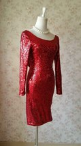 Sexy Wine Red Fitted Long Sleeve Open Back Sequin Dress Short Prom Dress image 2