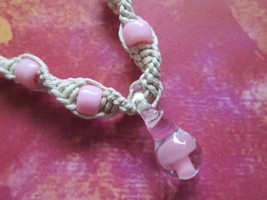 Handmade Natural Hemp Necklace with Hand Blown Glass Pink Mushroom Pendant - $17.00