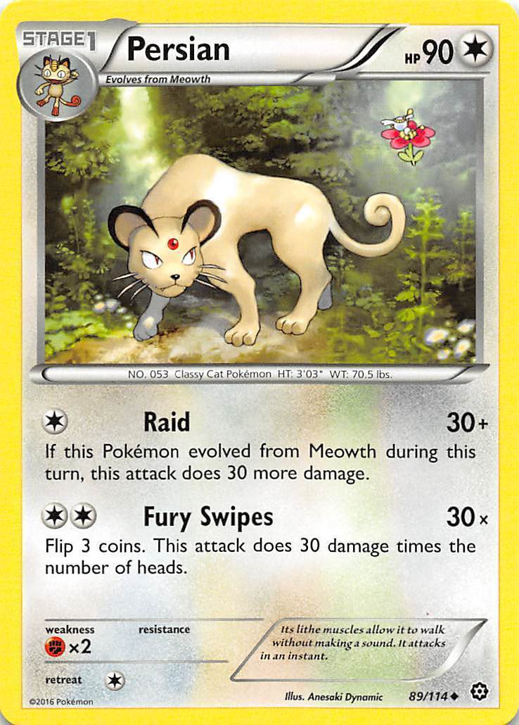 2016 Pokemon Stage 1 Persian HP90 89/114