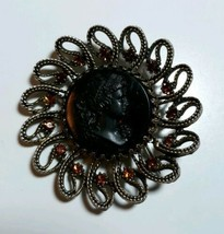 VINTAGE HAR SIGNED RHINESTONE & CAMEO LARGE ANTIQUE GOLD TONE BROOCH PIN - $70.00