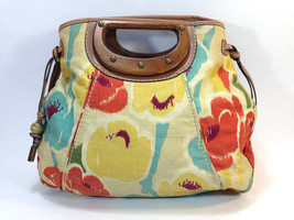 lovely FOSSIL yellow rust blue canvas wood handle large clutch messenger - $19.75