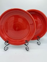 Dinner Plate Set Of 2 RNF37 Red By Royal Norfolk Embossed Rings Coupe - $15.62