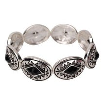 Inspired Silver Diamond Shaped Black Enamel Tribal Stretch Bracelet Rhod... - $593,31 MXN