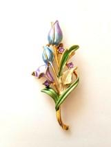 Vintage Floral Brooch Pin Gold Tone Enamel Flowers Stem Leaves Purple Blue Green - $9.65