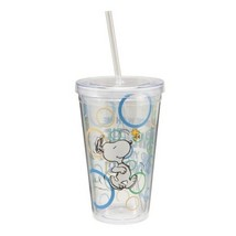 Peanuts Snoopy Figure, Stick With Me 18 oz Acrylic Travel Cup NEW UNUSED - $9.74