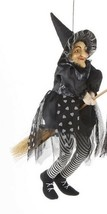 """Hanging Witch on Broom Doll Black w Hearts Delton Halloween  17.7"""" New - $19.96"""