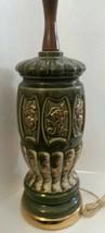 Mid Century Modern Art Ceramic Lamp Green Glazed White Gold Flower Motif - $76.05