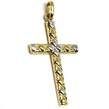 18K YELLOW WHITE GOLD CROSS PENDANT 30mm, 1.18 inches, ROUNDED ALTERNATE SQUARES image 2