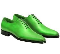 Handmade Men Green color Leather Shoes, Men green Party Shoes, Men dress shoes - $164.99