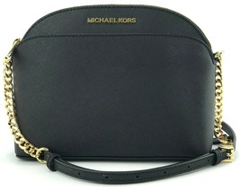Michael Kors Cross Body Bag Black Emmy Leather Chain Small Handbag - $245.71