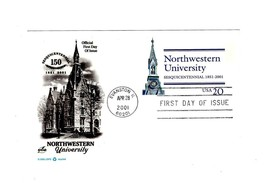 POSTCARD- FDC-NORTH WESTERN UNIVERSITY -150 YEARS- 2001 ART CRAFT CACHET... - $1.23