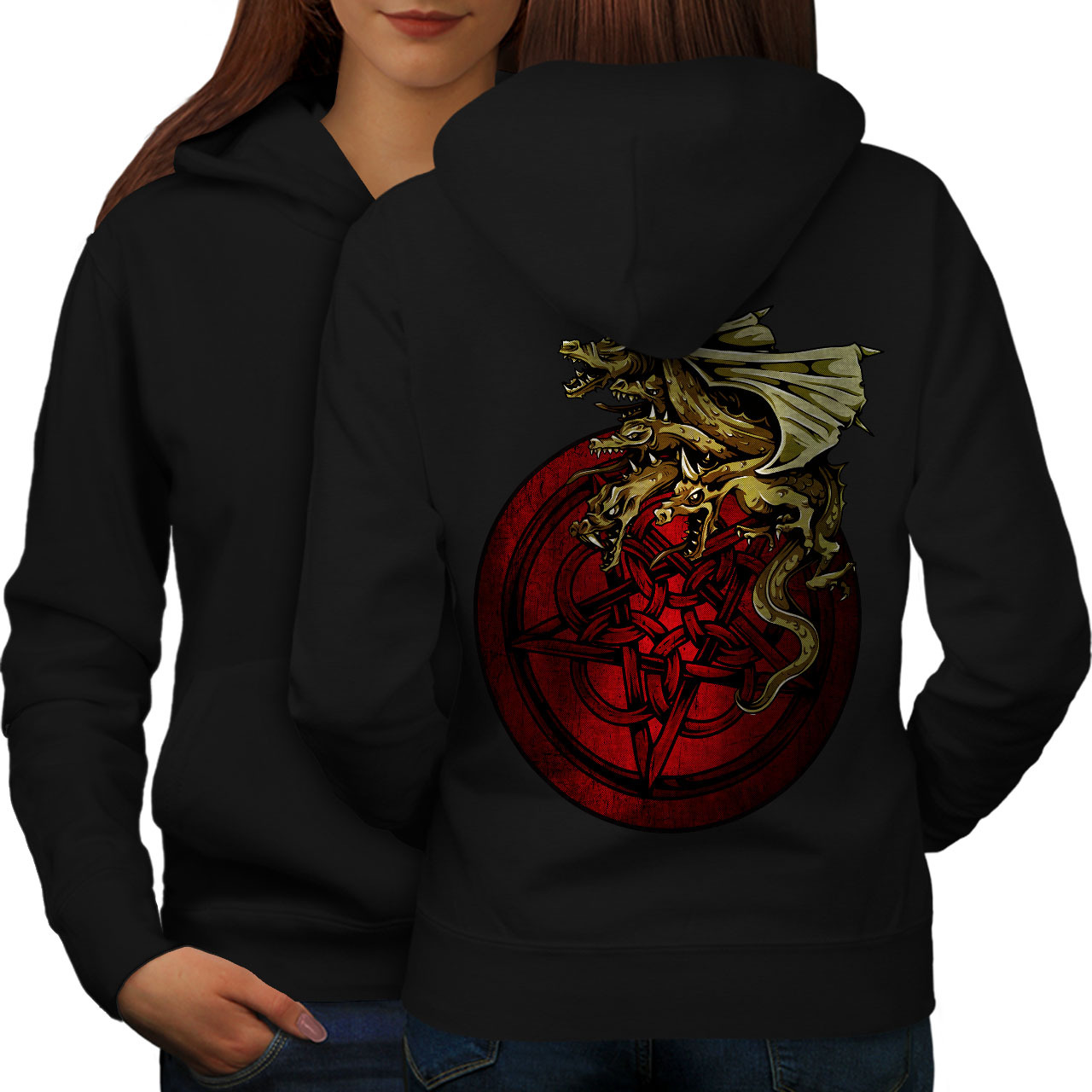 Dragon Mystic Art Fantasy Sweatshirt Hoody Myth Monster Women Hoodie Back - $21.99 - $22.99