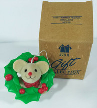 Avon Christmas Mouse in a Wreath Ornament Fuzzy Tree Trimmer Friends IOB - $8.99