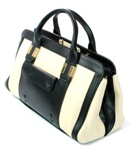Chloe Alice Husky White Black Leather Tote Bag Medium Sized Handbag - $1,150.96
