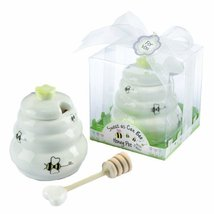 Sweet As Can Bee Ceramic Honey Pot with Wooden Dipper - €6,01 EUR