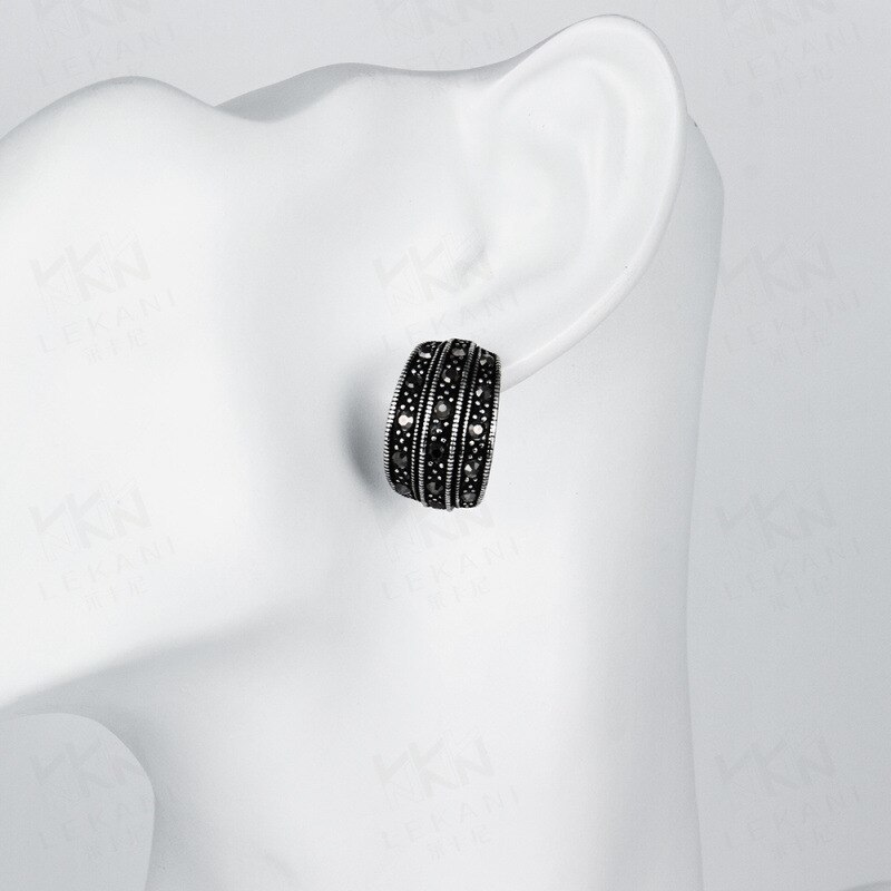 TANGKA 2017 new European and American high-grade tin alloy leaves earrings bakin image 4