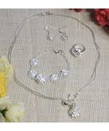 Genuine Authentic 925 .925 Sterling Silver Lovely Flower Bracelet Neckla... - $49.45