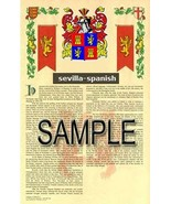 Sevilla Coat of Arms (Armorial Name History) Family Crest 11x17 Print Sc... - $18.99