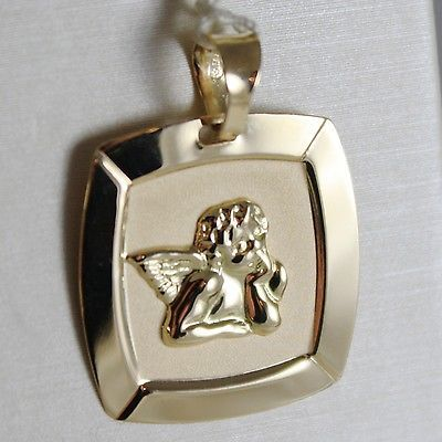 18K YELLOW GOLD SQUARE PENDANT MEDAL CUSTODIAN ANGEL ENGRAVABLE, MADE IN ITALY