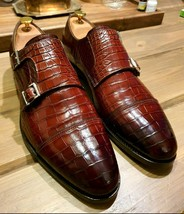 Handmade Men's Maroon Double Monk Strap Leather Shoes image 1