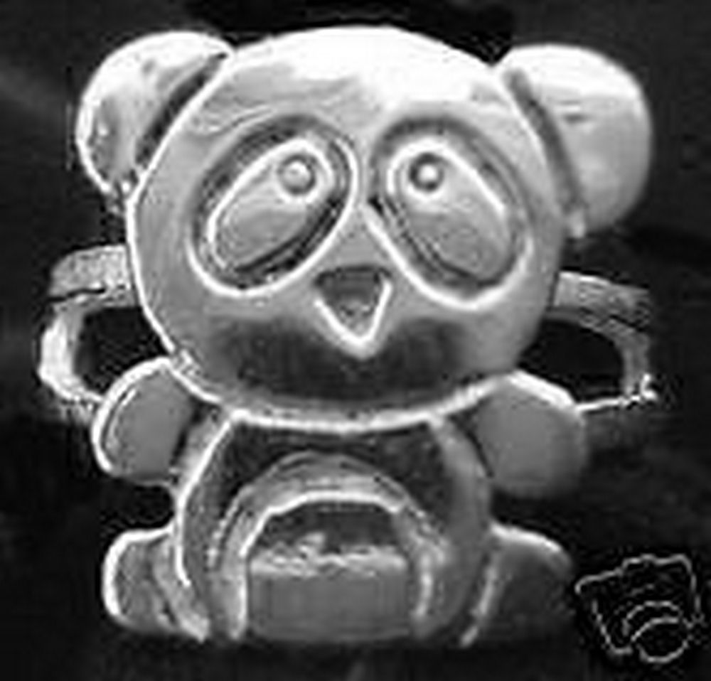 NICE 1624 New cartoon Panda Ring Sterling Silver Bear Jewelry