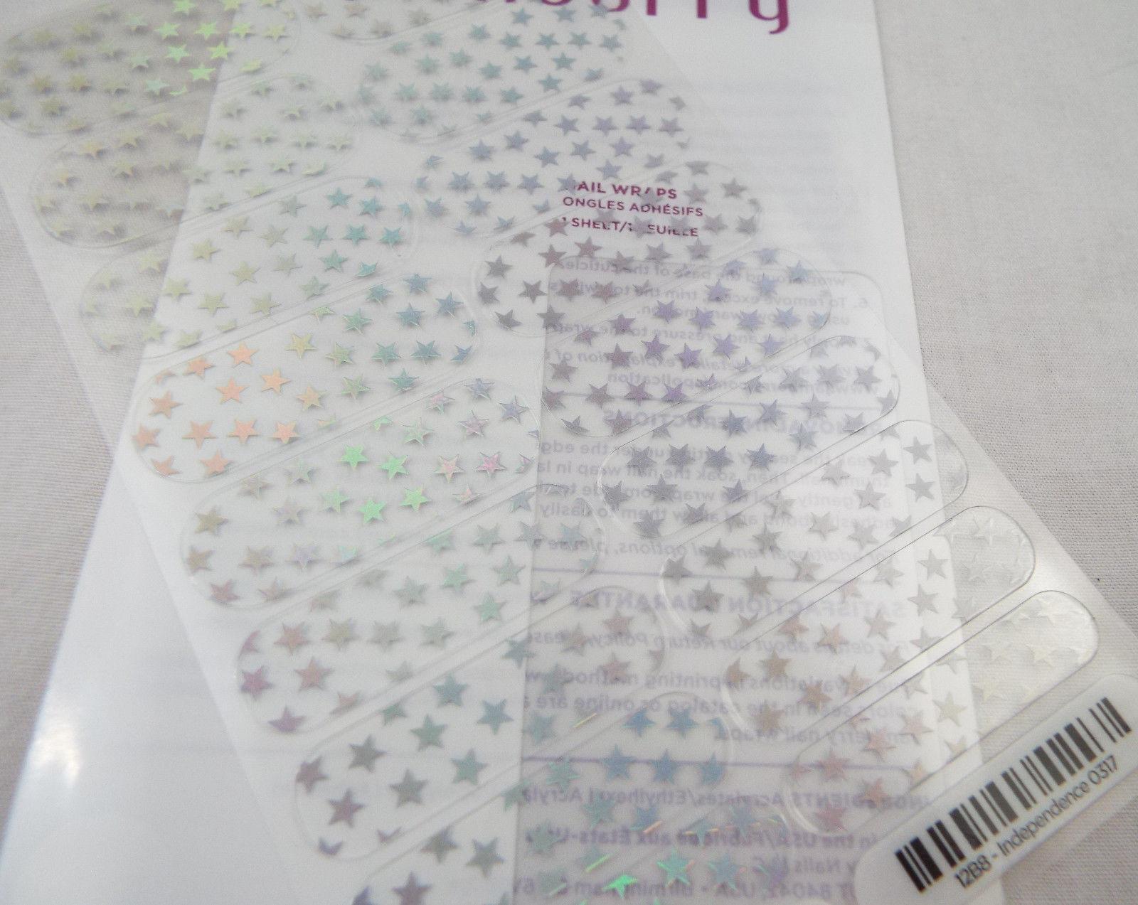 Jamberry Independencia 0317 12B8 Holográfico Estrellas en Transparente Hoja