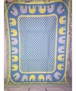 Vintage Leonardo Looms Elephant Reversible Blue Yellow Boys Baby Blanket 1971 - $197.99