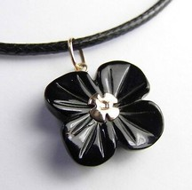 Genuine Black Coral 10K Yellow Gold FLOWER Pendant Free Cord - $79.47