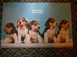 Old Vintage Calendar Picture Print Beagle Puppies Dogs Chevrolet Service... - $9.99