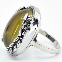 Vintage Inspired Silver & Black Color Changing Statement Oval Cabochon Mood Ring image 2