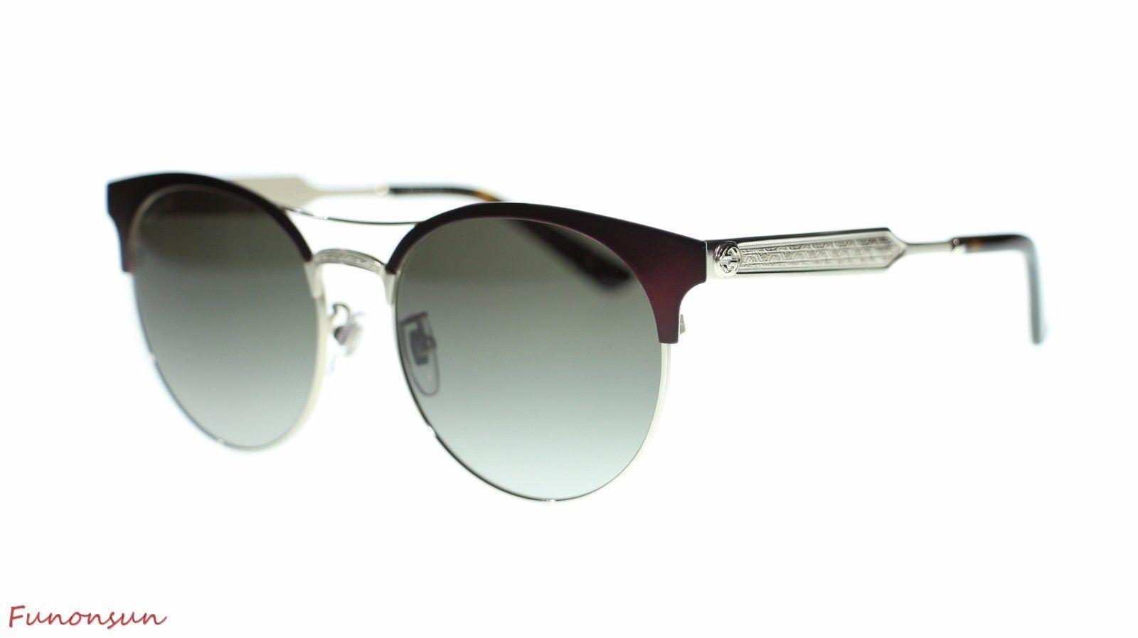 20f498ec63 S l1600. S l1600. Previous. Gucci Women Round Sunglasses GG0075 004  Burgundy Gold Grey Gradient Lens 56mm