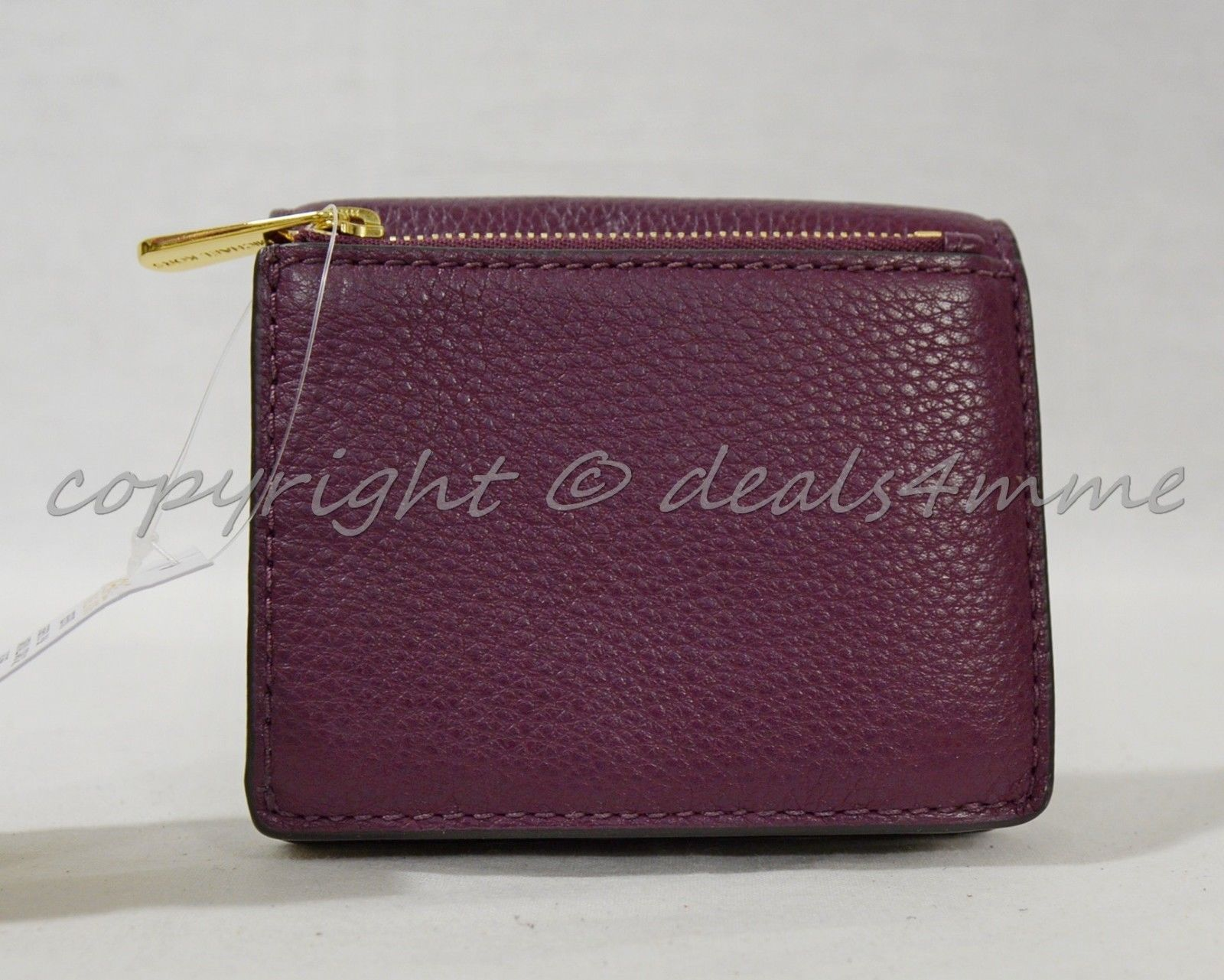 NWT Michael Kors Bedford Carryall Card Case in Plum Pebbled Leather