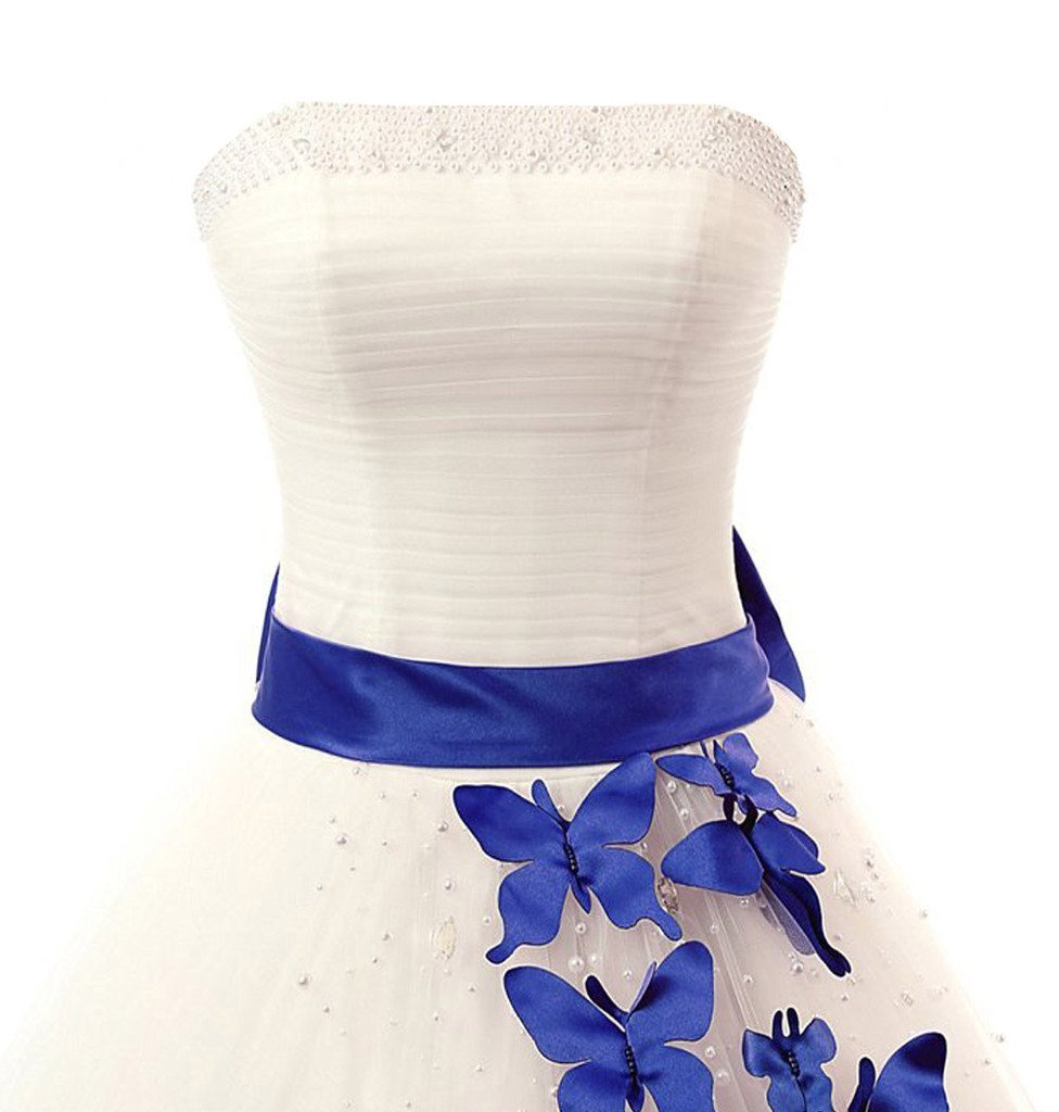 Kivary A Line Ivory and Royal Blue Butterfly Strapless Pearls Long Prom Gowns We