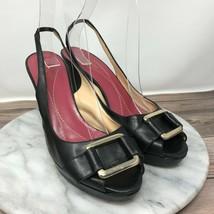 Vintage Kate Spade Womens Size 7.5 Black Leather Buckle Peep Toe Slingback Heels - $31.45