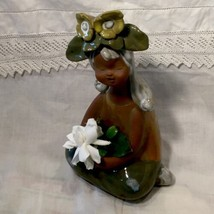 "Mid Century Mod Art Ceramic Lady Girl Bud Vase Made In Japan 9"" Tall - $29.21"