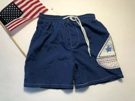 Big Fish little boys 12 mo Sailboat blue applique swim trunks - $4.94