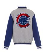 MLB Chicago Cubs Reversible Full Snap Fleece Jacket JH Design Gray Royal - $119.99