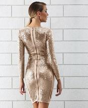 Winter Luxury Sequin Sexy V Neck Bandage Party Dress image 3