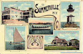 Multi Vew of Summerville New York 1909 vintage Post Card - $6.00