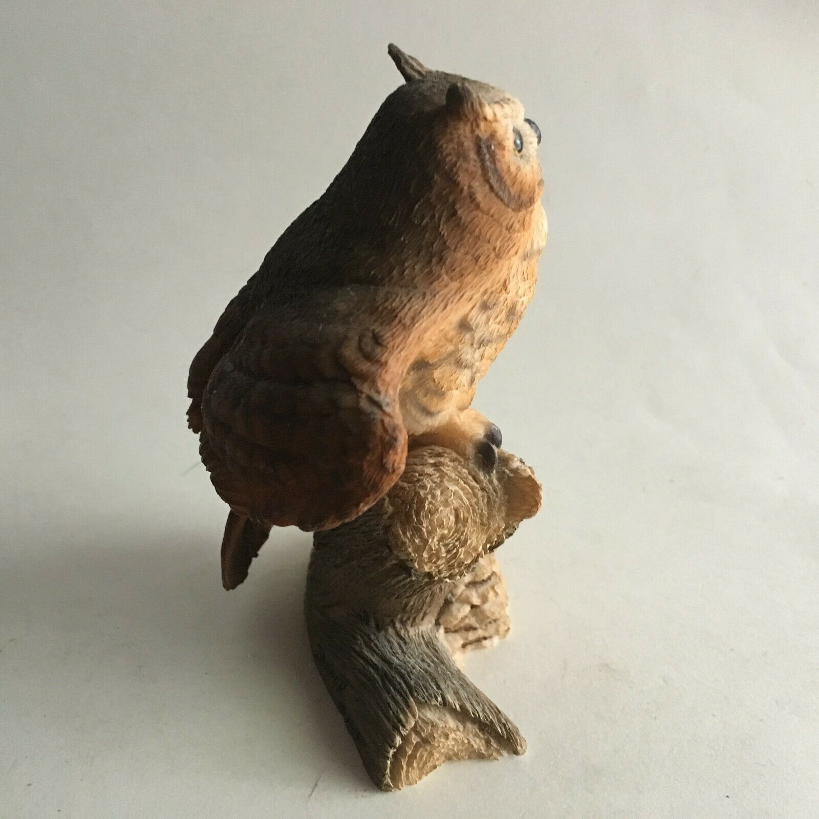"Vintage Owl Bark Branch Ceramic Figurine Statue Collectible 5""X4X3"" Mid Century"