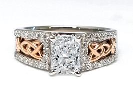 1.20 CTW Two Tone Celtic Knot Radiant Diamond Engagement Ring - $8,059.66